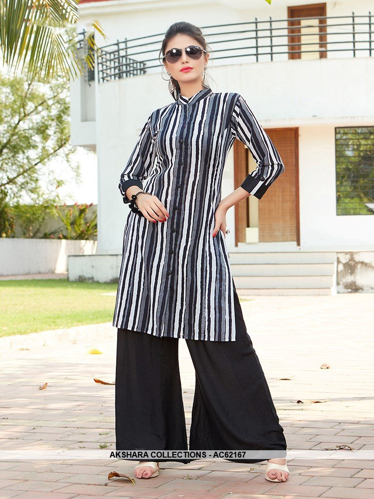 AC62167 - Black and White Color Rayon Kurti