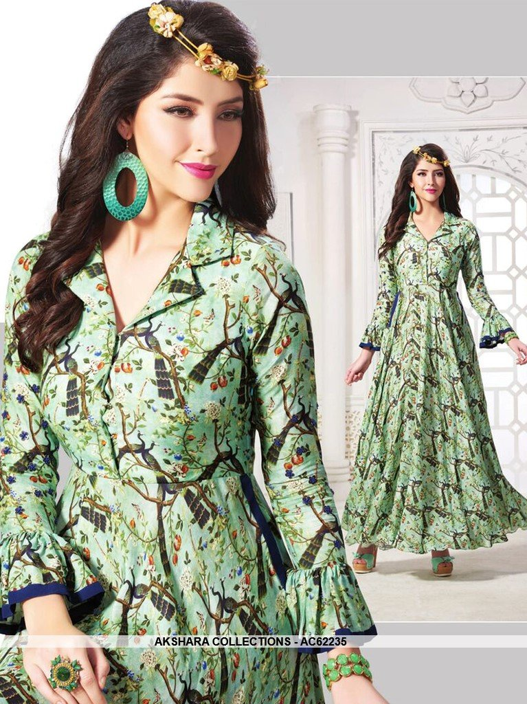 AC62235 - Pista Green Color Muslin Cotton Kurti