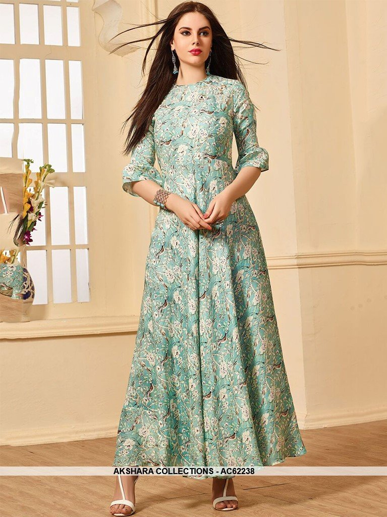 AC62238 - Medium Aquamarine Color Muslin Cotton Kurti