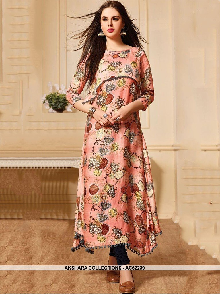 AC62239 - Peach Color Muslin Cotton Kurti