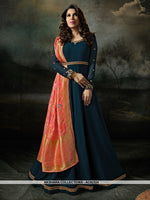 AC62324 - Prussian Blue Color Georgette Anarkali Suit