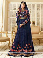 AC62471 - Dark Blue Color Georgette Anarkali Suit
