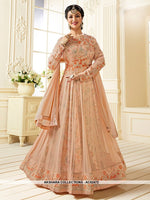 AC62472 - Peach Color Georgette Anarkali Suit