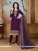 AC62487B - Purple Color Georgette Churidar Suit