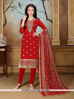 AC62487D - Red Color Georgette Churidar Suit