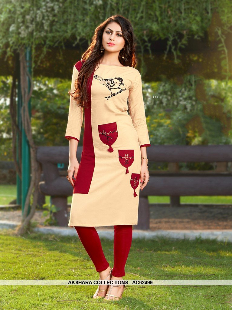AC62499 - Beige and Maroon Color Rayon Kurti