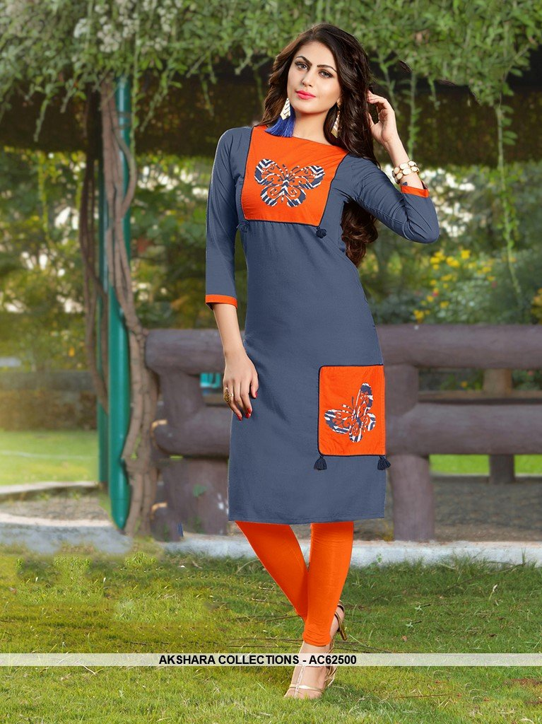 AC62500 - Grey and Orange Color Rayon Kurti