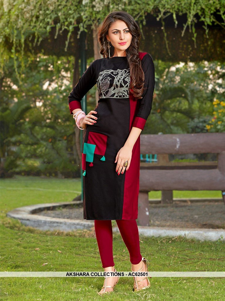 AC62501 - Black and Maroon Color Rayon Kurti