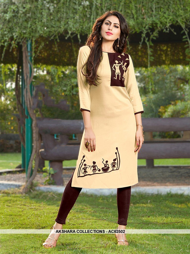 AC62502 - Cream and Brown Color Rayon Kurti