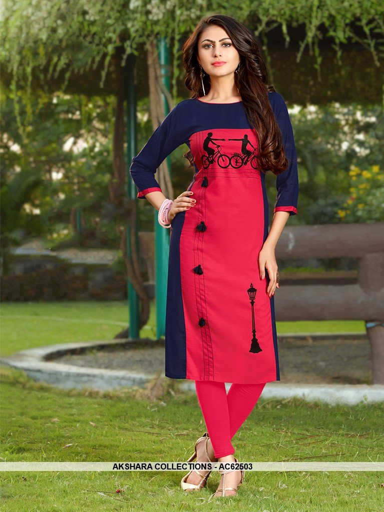 AC62503 - Pink and Blue Color Rayon Kurti