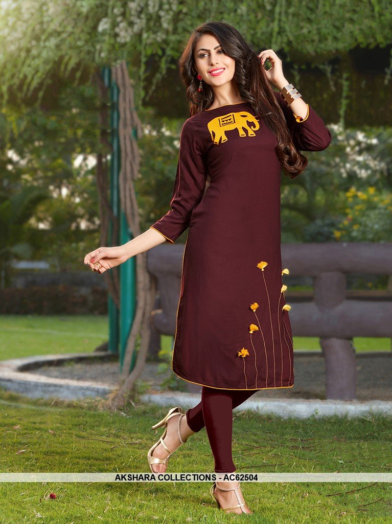 AC62504 - Brown Color Rayon Kurti