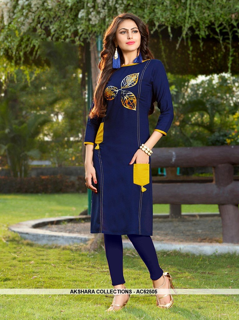 AC62505 - Blue Color Rayon Kurti