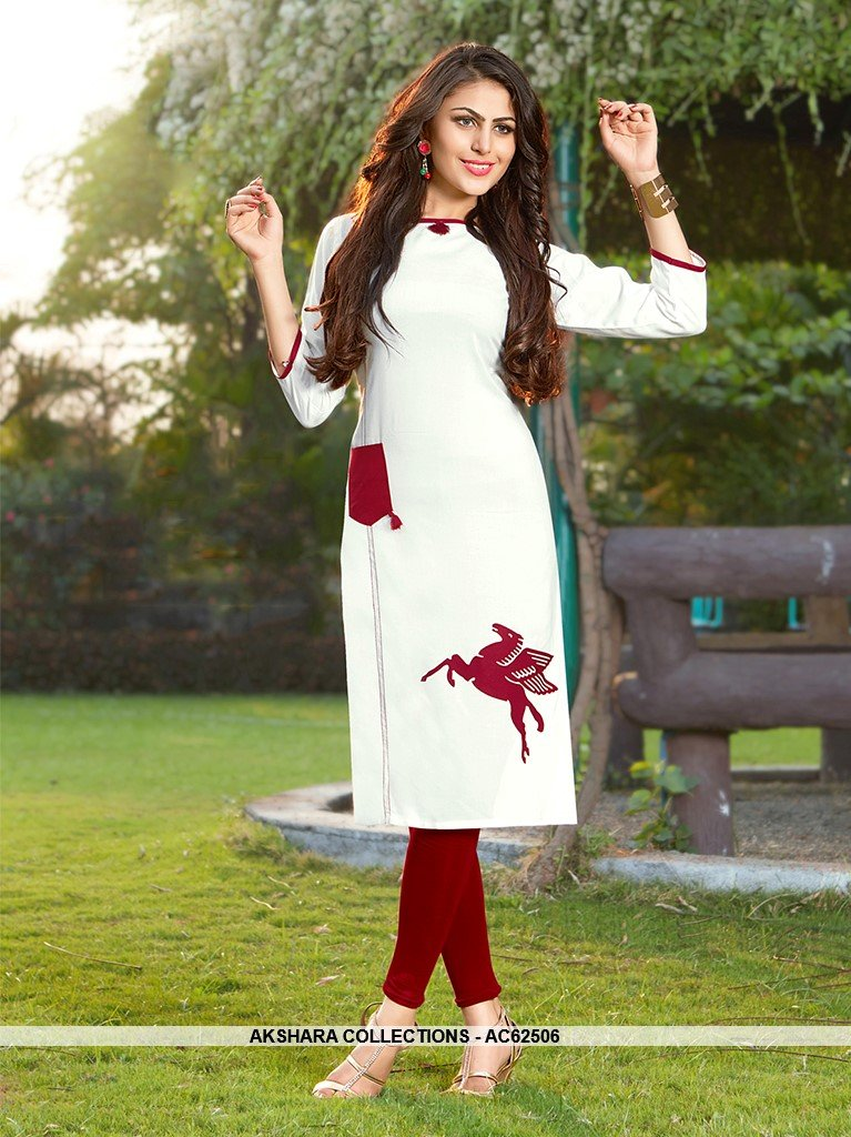 AC62506 - White Color Rayon Kurti