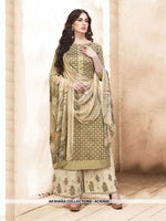 AC62542 - Olive Green Color Silk Cotton Palazzo Suit