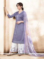 AC62543 - Light Purple Color Silk Cotton Palazzo Suit