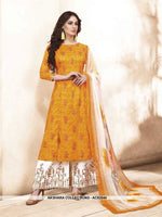 AC62544 - Musturd Yellow Color Silk Cotton Palazzo Suit