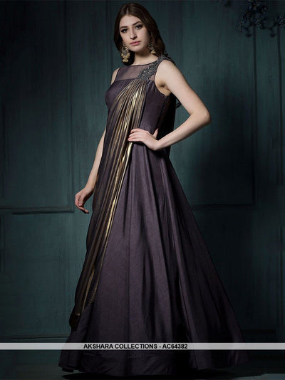 AC64382 - Dark Purple Color Bamboo Silk Gown