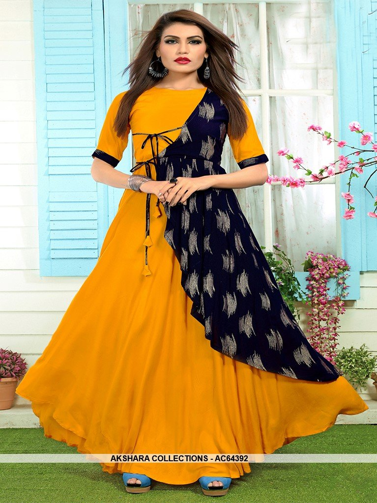 AC64392 - Mustard Yellow and Navy Blue Color Rayon Kurti