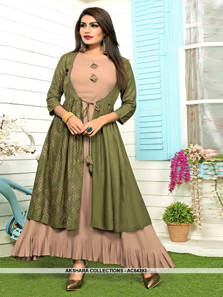 AC64393 - Beige and Olive Green Color Rayon Kurti
