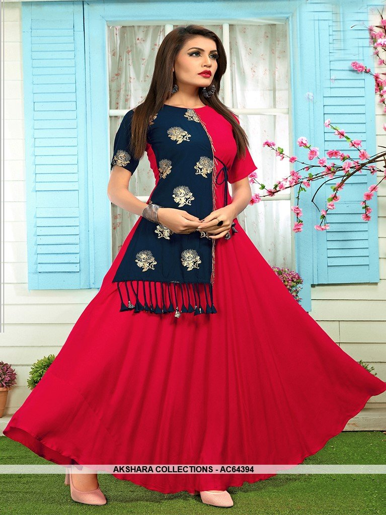 AC64394 - Dark Pink and Navy Blue Color Rayon Kurti