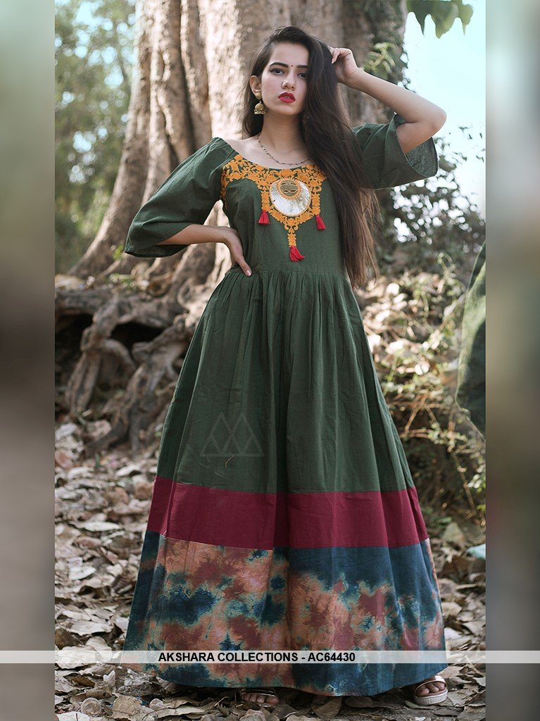 AC64430 - Olive Green Color Linen Cotton Gown