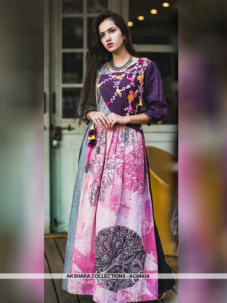 AC64434 - Pink and Purple Color Linen Cotton Gown – Akshara Collections