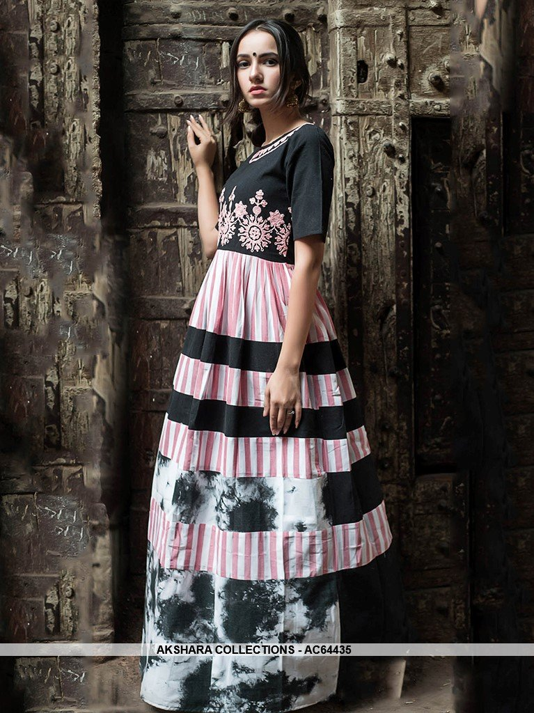 AC64435 - Black and Pink Color Linen Cotton Gown