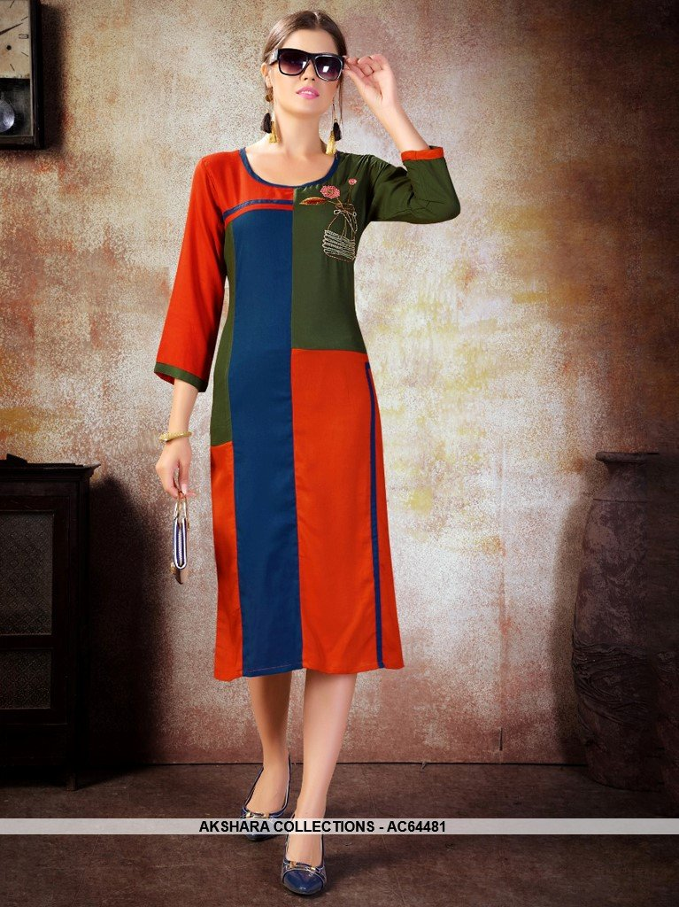 AC64481 - Red and Blue Color Heavy Rayon Kurti