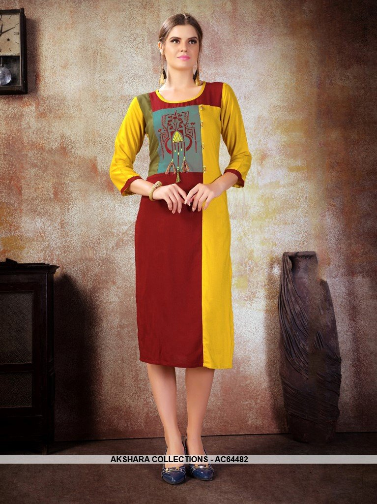 AC64482 - Maroon and Yellow Color Heavy Rayon Kurti