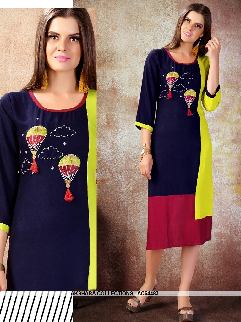 AC64483 - Navy Blue and Parrot Green Color Heavy Rayon Kurti