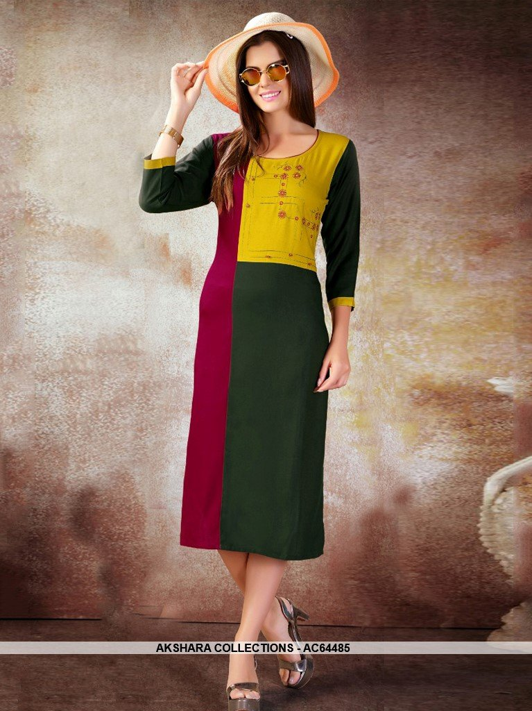 AC64485 - Pink and Green Color Heavy Rayon Kurti
