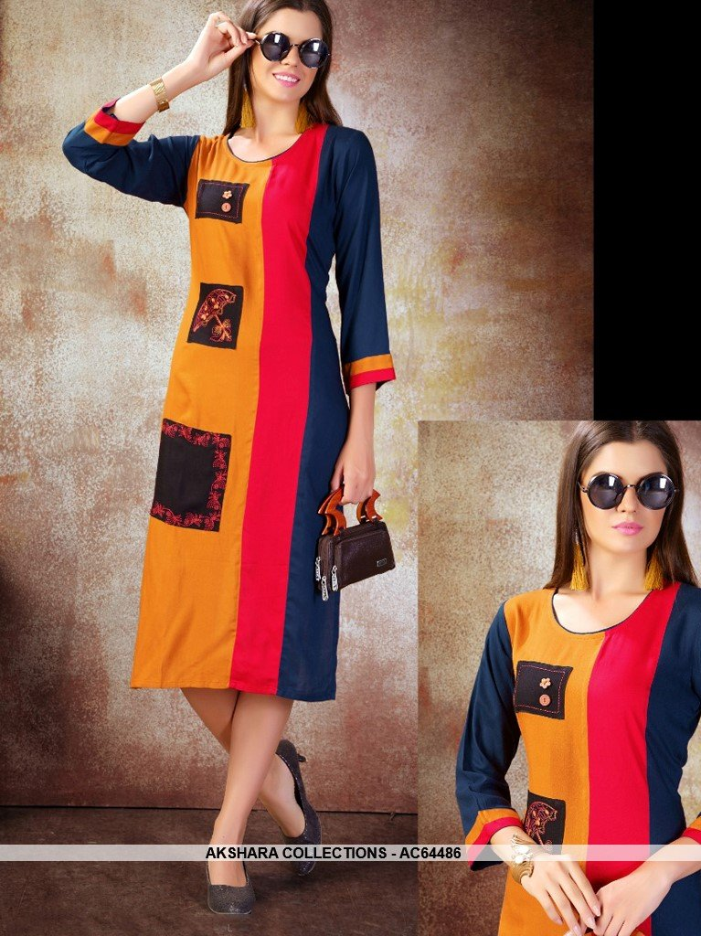 AC64486 - Orange and Navy Blue Color Heavy Rayon Kurti