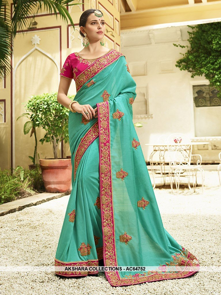 AC64752 - Turquoise Color Soft Silk Saree