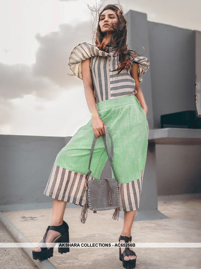 AC65256B - Grey and White Color Khadi Cotton Western Wear