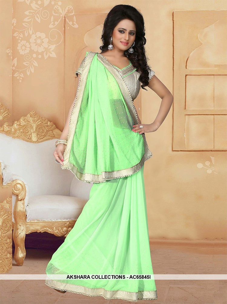 a7ed5c216db41e AC65845I - Light Green Color Georgette Saree – Akshara Collections