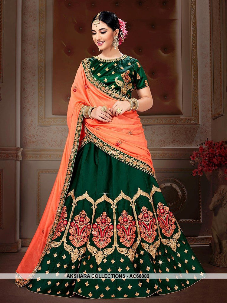 AC66082 - Green Color Satin Silk Lehenga Choli