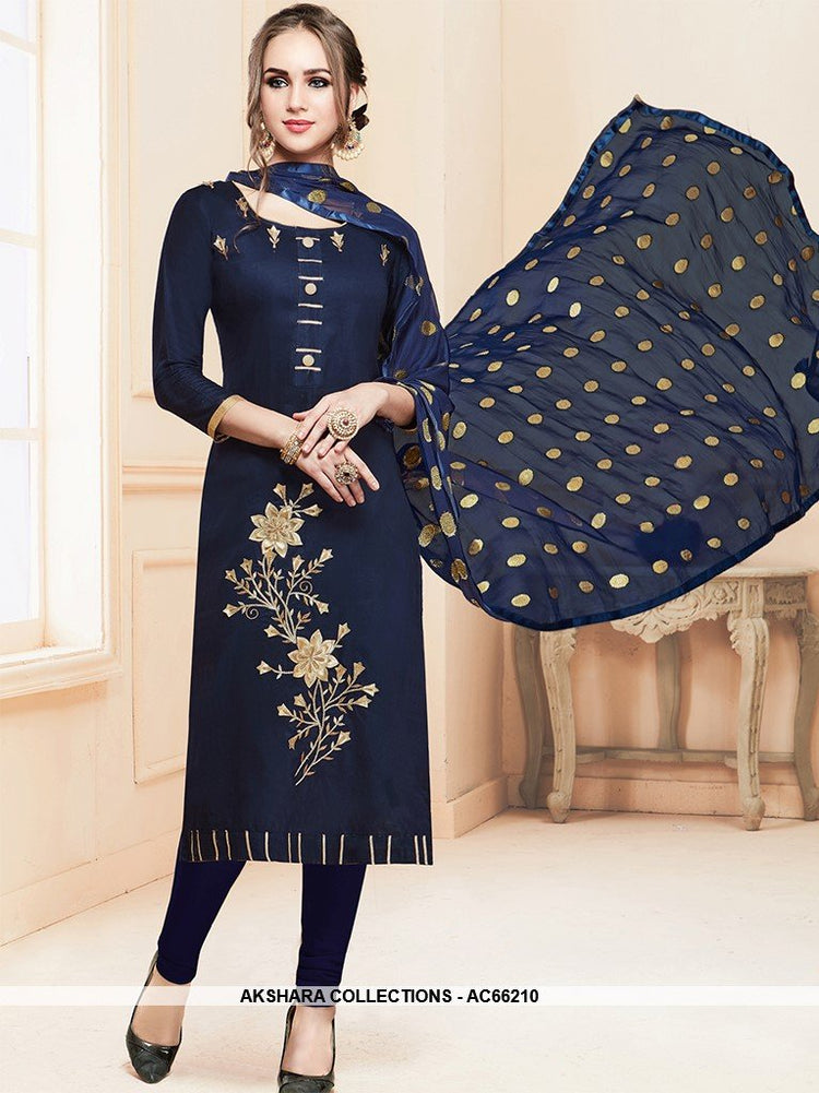 AC66210 - Navy Blue Color Cotton Churidar Suit