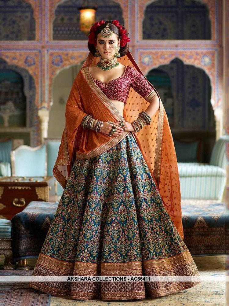 AC66411 - Deep Ocean Blue Color Banarasi Silk Lehenga Choli