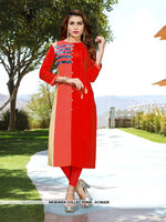 AC66425 - Red and Cream Color Rayon Kurti