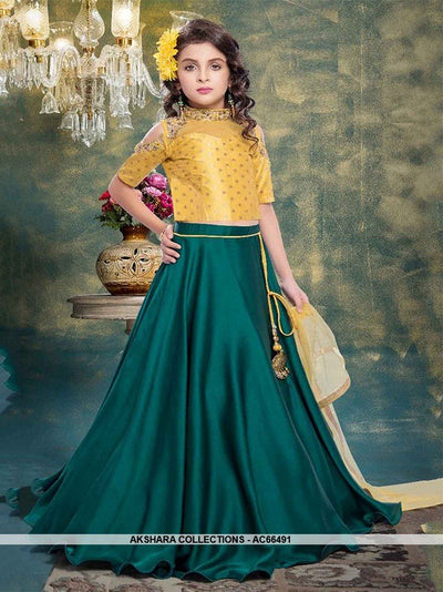 AC66491 - Teal Color Tafeta Satin Lehenga Choli