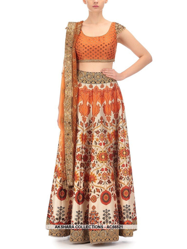 AC66521 - Multi Colour Color Satin Lehenga Choli