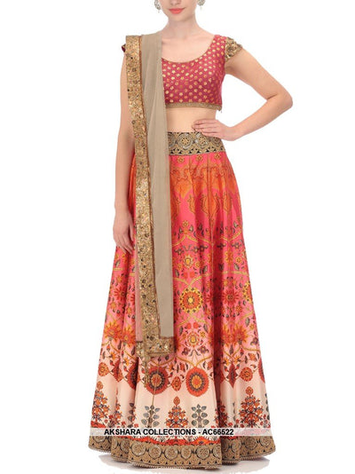 AC66522 - Multi Colour Color Satin Lehenga Choli