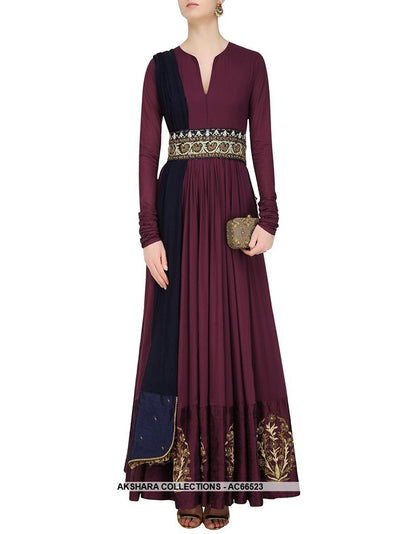 AC66523 - Burgundy Color Tafeta Silk Gown