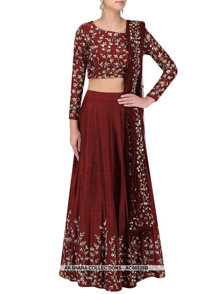 AC66525B - Maroon Color Art Silk Lehenga Choli
