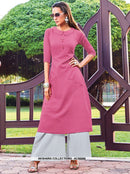 AC66568 - Pink Color Silk Cotton Kurti