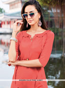 AC66571 - Dark Peach Color Silk Cotton Kurti