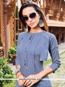AC66573 - Dark Grey Color Silk Cotton Kurti