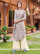 AC66575 - Light Grey Color Silk Cotton Kurti