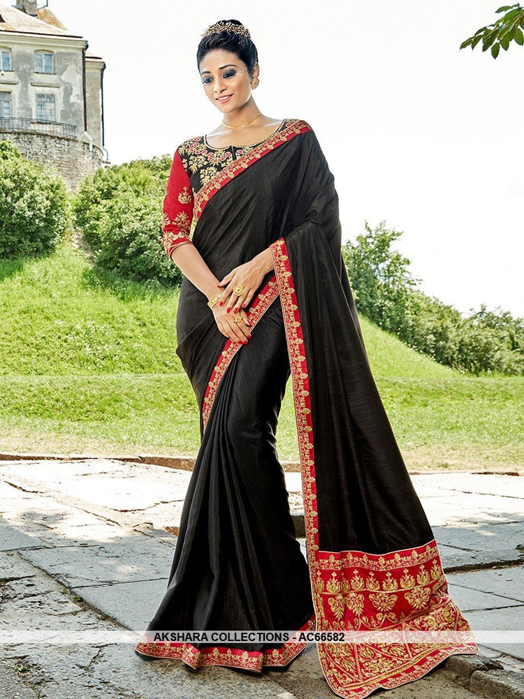 AC66582 - Black Color Satin Silk Saree