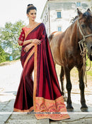 AC66583 - Maroon Color Satin Silk Saree